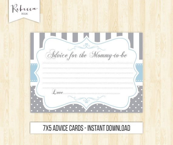 Advice Card Advice For The Mommy To Be Printable Baby Shower Etsy