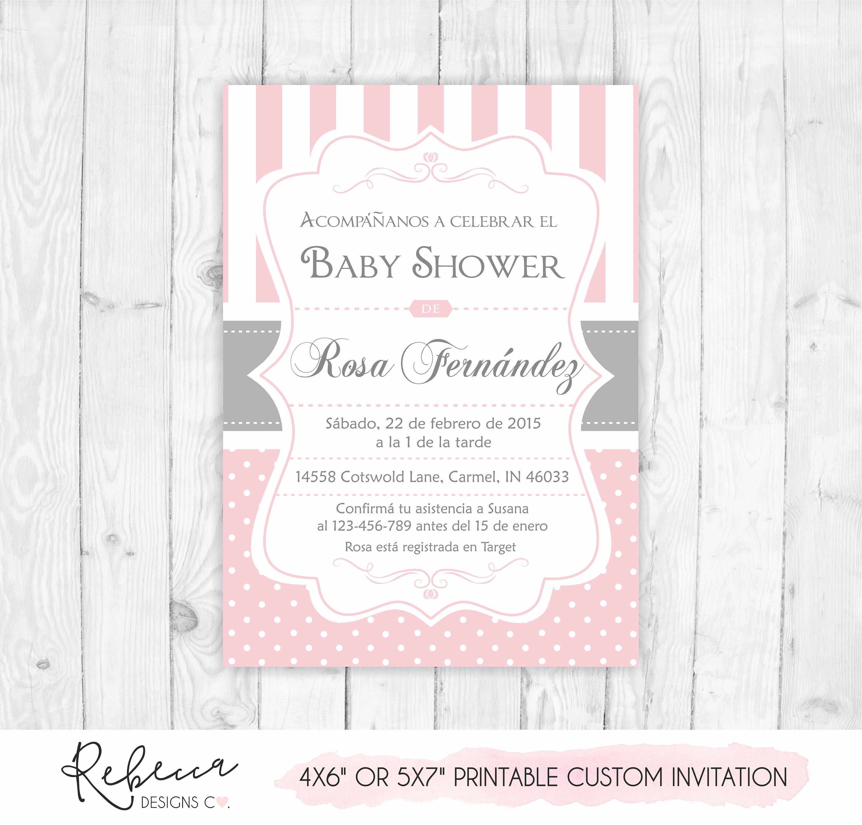 spanish baby shower invitation girl baby shower in spanish | etsy
