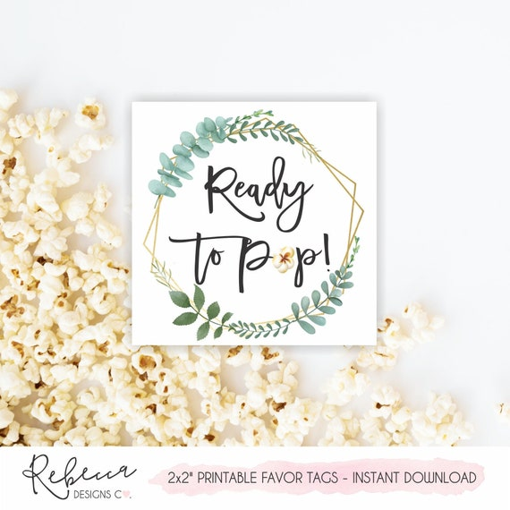 modern mom to be popcorn favor tags diy baby shower popcorn bag tags Digital file ready to pop baby shower tags or decals