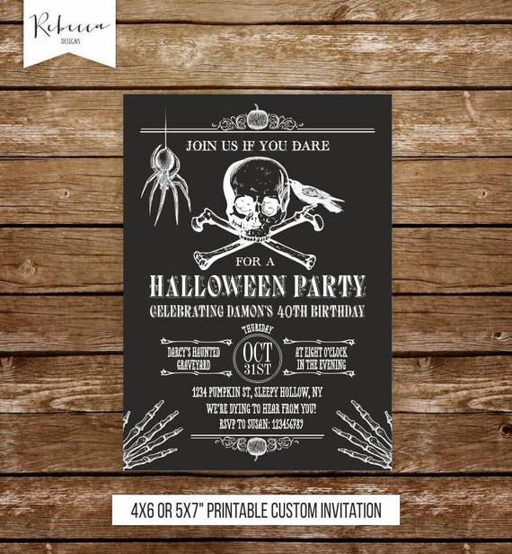 Halloween Birthday Invitation Printable Invite Skull Spider Skulls Skeletons Adult 133