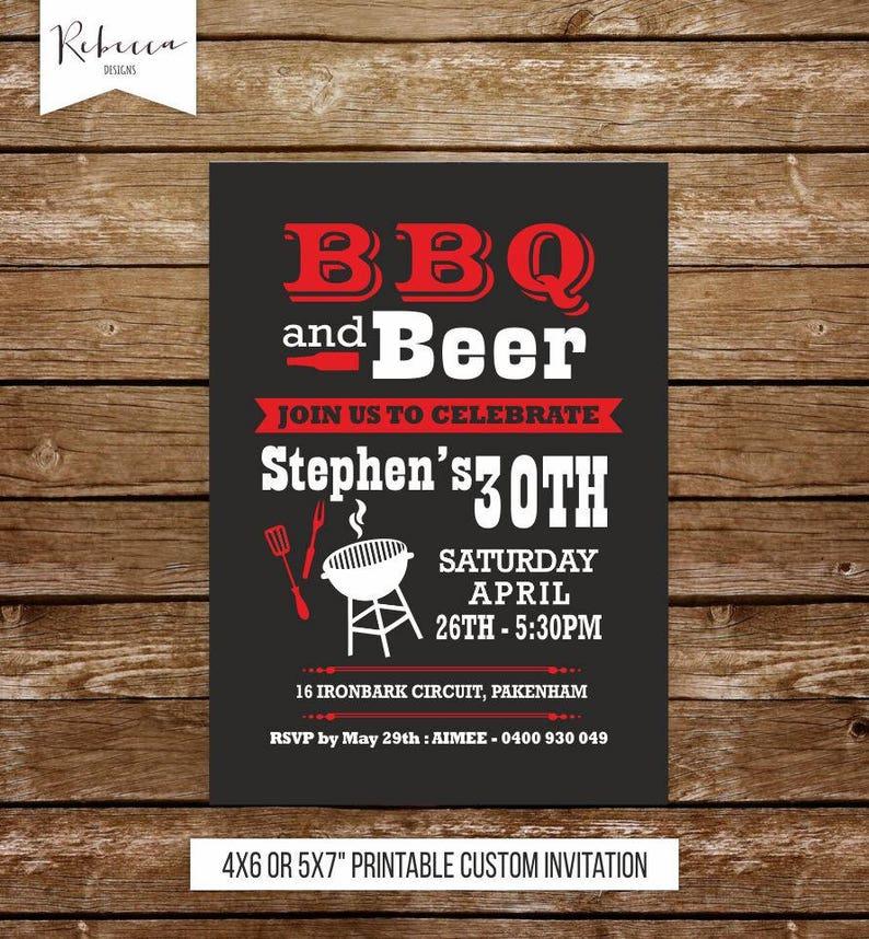 Bbq Birthday Invitation Man 21st Barbecue