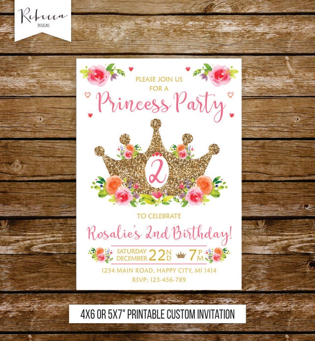 2nd Birthday Princess Invitation 2 Girl Party Pink And Gold Fairy