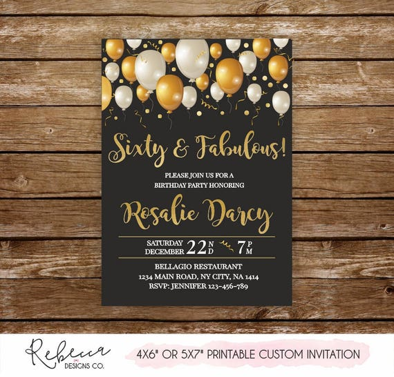 60 And Fabulous Invite Sixty Invitation Birthday Printable Woman 60th Party 302