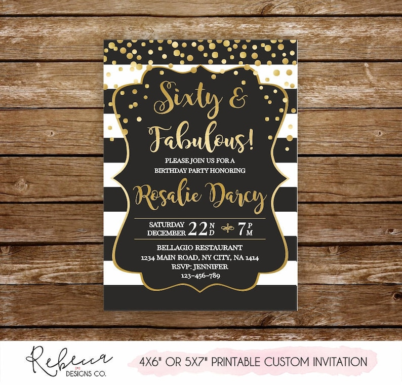 Sixty And Fabulous Invitation 60 Birthday Printable