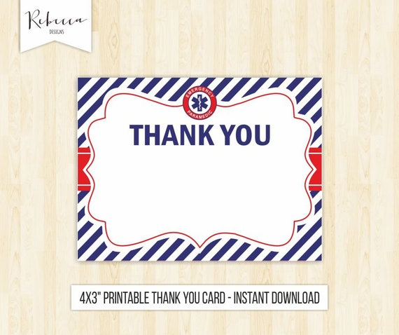 Paramedic Thank You Card Doctor Thank You Card Printable First