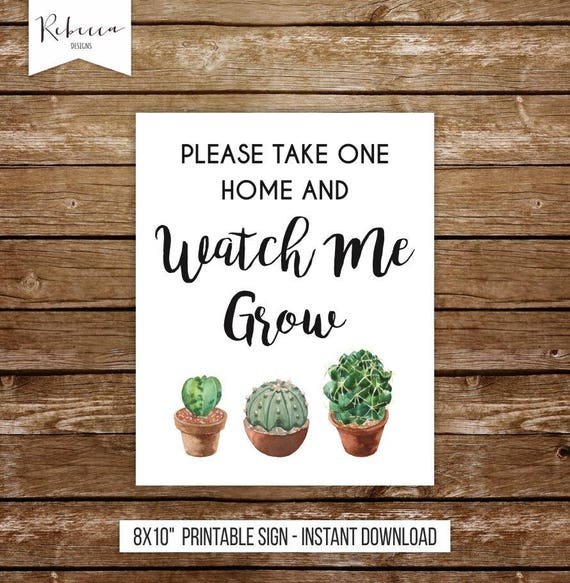 Watch Me Grow Sign Printable Succulent Favors Baby Shower Sign