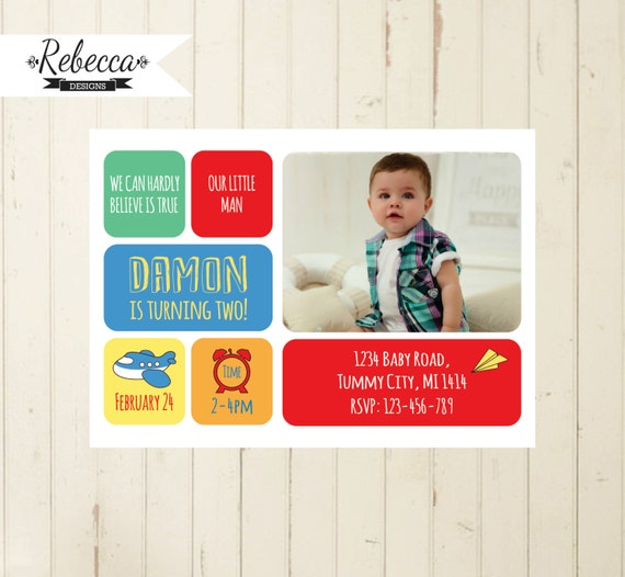 Boy 2nd Birthday Invitation Baby Invite Photo