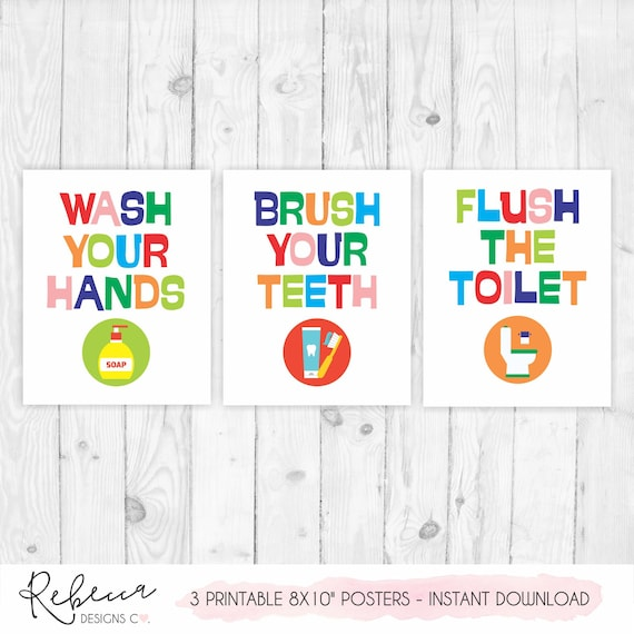 Kids Bathroom Signs Kids Bathroom Art Printable Bathroom Wall Decor Prints Girl Bathroom Boy Bathroom Sign Bathroom Poster Children Bathroom By Rebecca Designs Co Catch My Party