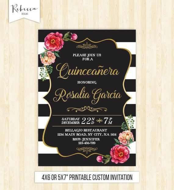 Quinceanera Invitation 15th Birthday Party Invite Mis Quince Printable Black White Spanish 232