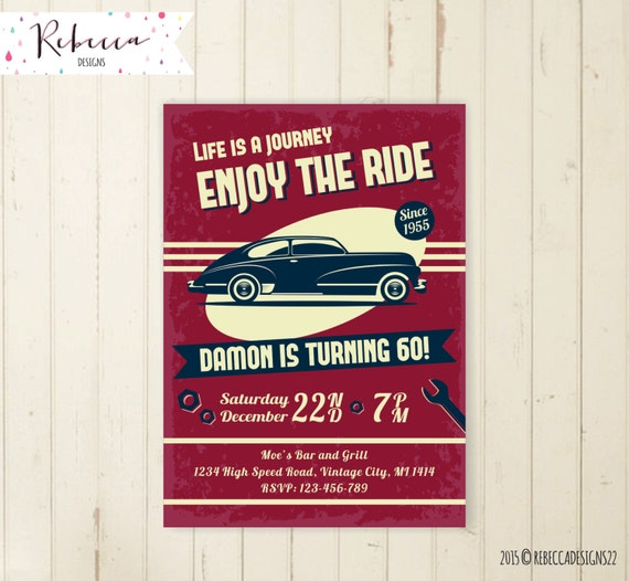 Car Birthday Invitation Vintage 21st