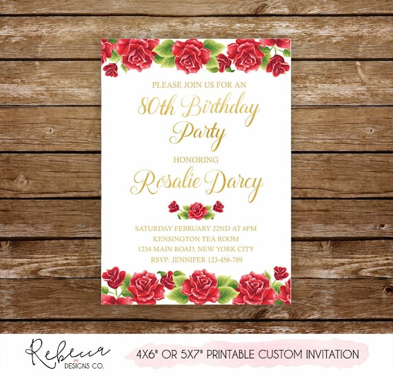 90th Birthday Invitation Grandma Invite 80th 70th 50th 60th Printable Roses Red 315