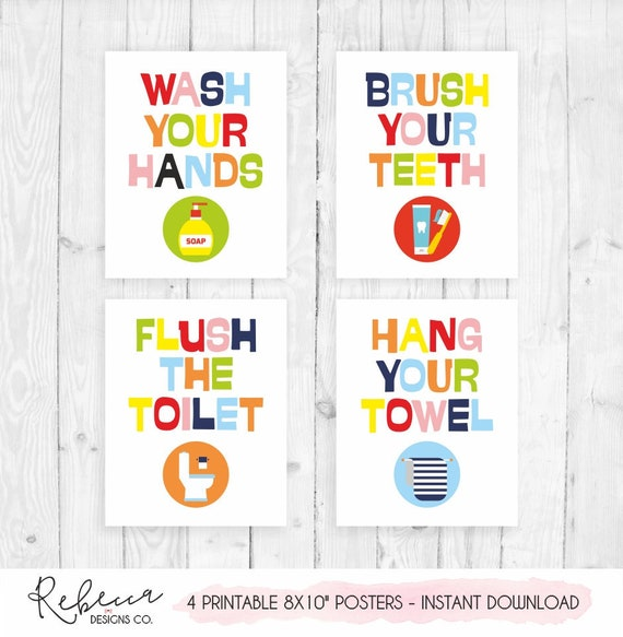 image regarding Printable Bathroom Art called Youngsters lavatory decor poster printable rest room recommendations rest room