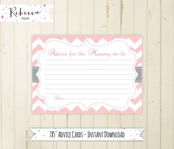 Pink Advice For The Mommy To Be Printable Baby Shower Advice Etsy