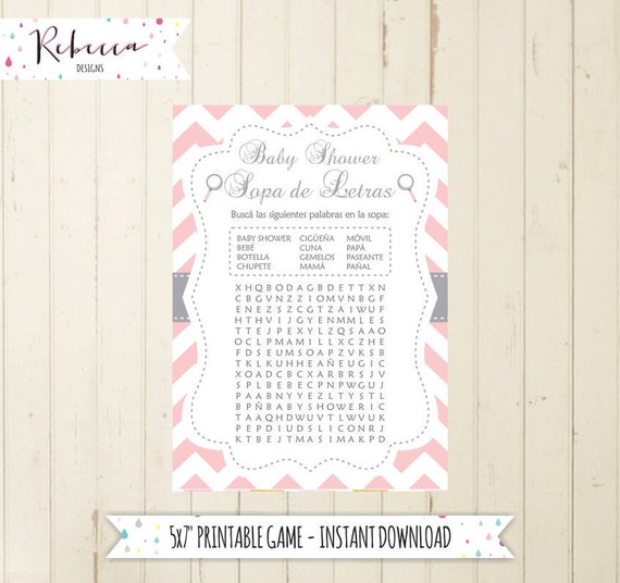 Baby Shower Wordsearch Game In Spanish Baby Shower In Spanish