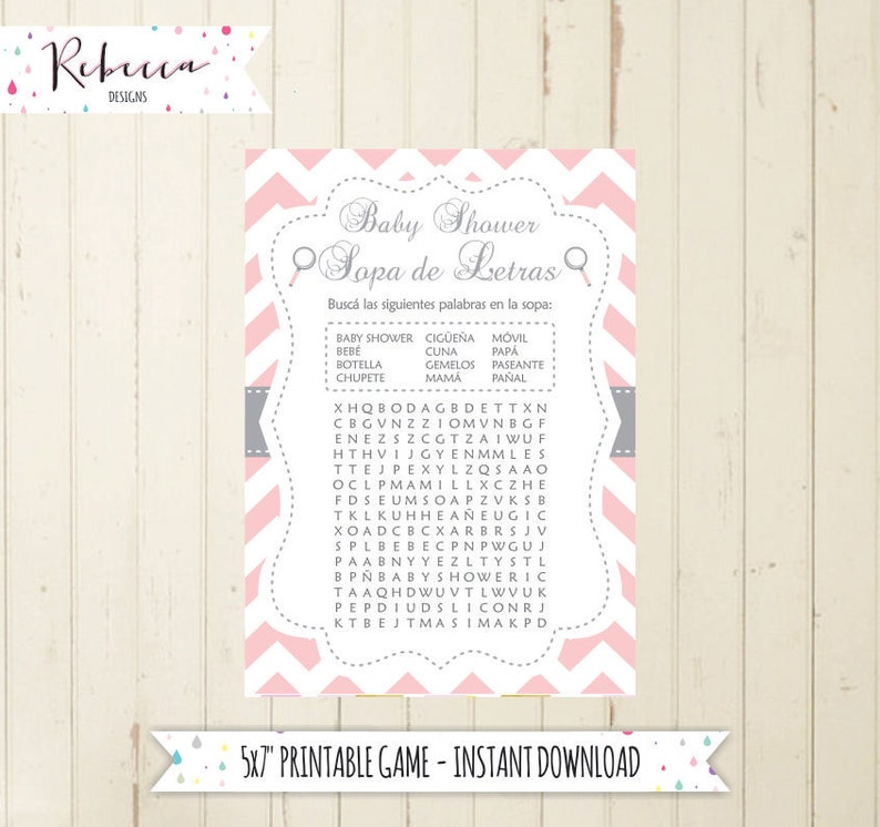 Baby Shower Wordsearch Game In Spanish Baby Shower In Spanish Etsy