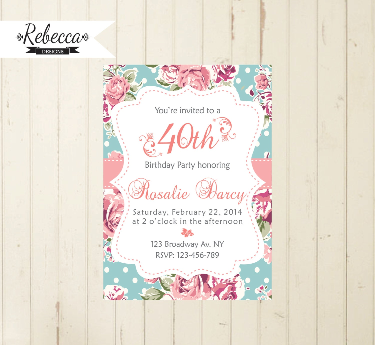 Floral birthday invitation cottage chic party tea party | Etsy