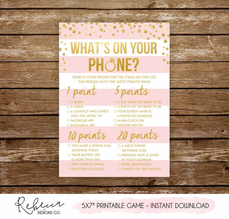 What's on your phone bridal shower game printable bachelorette party game  whats in your phone game bridal shower activity cellphone game 251