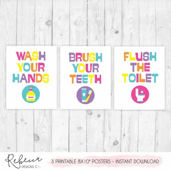 Girls Bathroom Signs Kids Bathroom Art Printable Brush Your Teeth