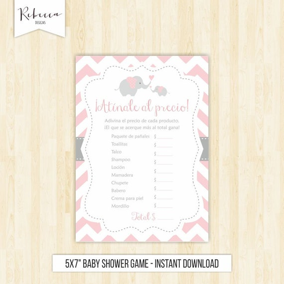 photograph relating to Spanish Baby Shower Games Free Printable named The price tag is instantly in just spanish youngster shower elefante rosa
