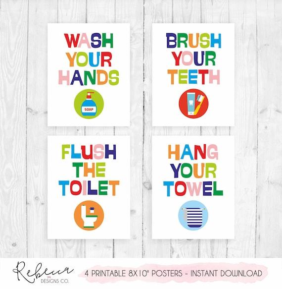 Kids Bathroom Decor Poster Printable Bathroom Rules Bathroom Art Prints Girl Bathroom Boy Bathroom Sign Bathroom Poster Children Bathroom By Rebecca Designs Co Catch My Party