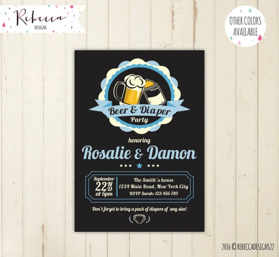 Beer And Diaper Party Invitation Baby Shower Invite Coed