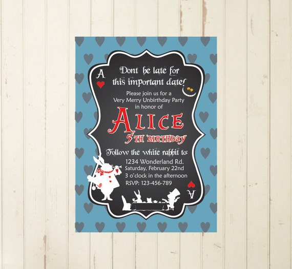 Alice In Wonderland Invitation Alice Printable Invite Alice Tea