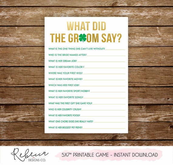 What Did The Groom Say Game Printable Bridal Shower Game