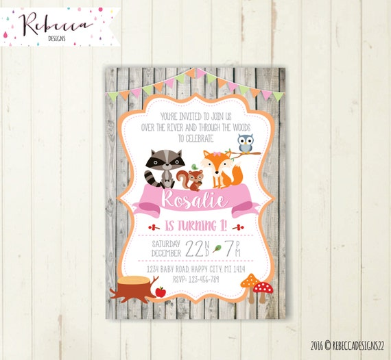 Woodland Girl Invitation Party Fox Pink Birthday Forest Friends Invite First Owl 192