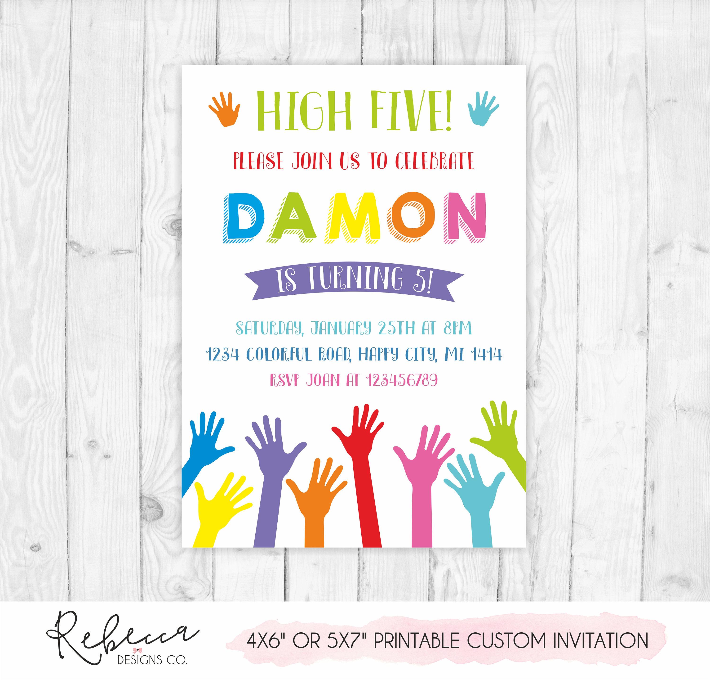5th birthday invitation high five birthday invitation 5th | Etsy