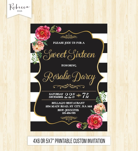 16th Birthday Invite Sweet 16 Invitation Sixteen Quinceanera Printable Pink And Gold Confetti 232