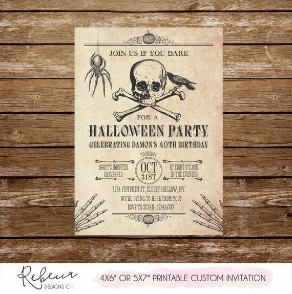 Halloween Birthday Invitation Printable Invite Skull Adult Party Spider Skeletons 133