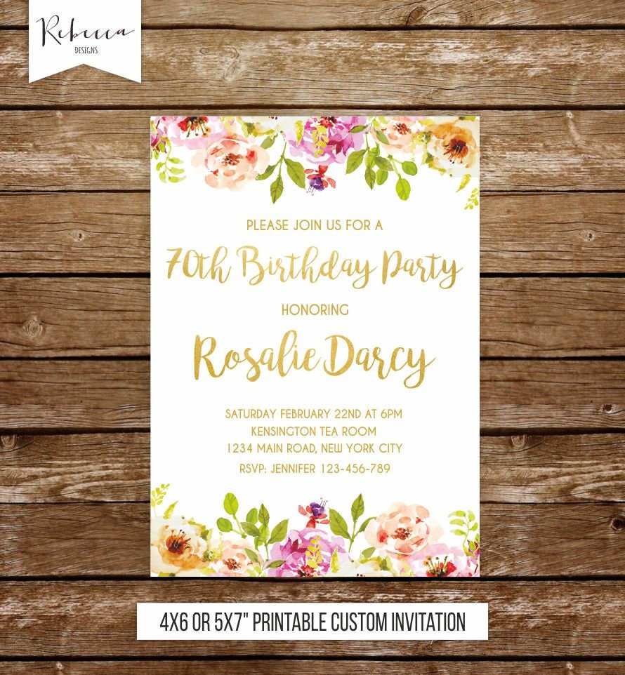 70th birthday invitation woman watercolor birthday invite 21st | Etsy