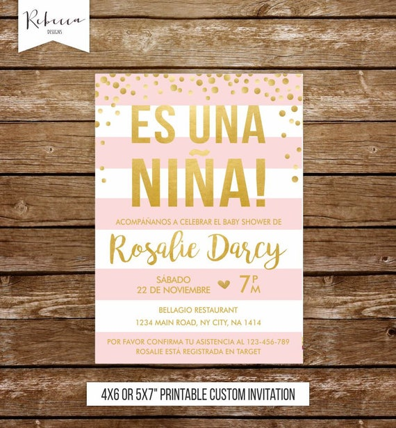 Invitacion Baby Shower Niña Spanish Baby Shower Invitation Girl Baby