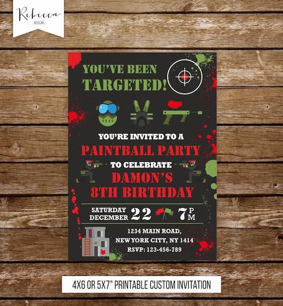 Paintball Birthday Invitation Printable