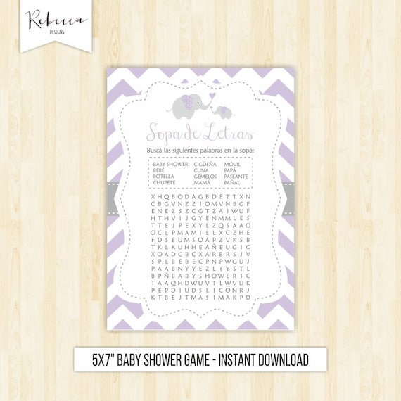 Sopa De Letras Baby Shower Lavender Wordsearch Game In Spanish Baby