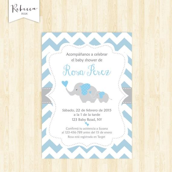 Invitacion Baby Shower Espanol Boy Baby Shower In Spanish Etsy