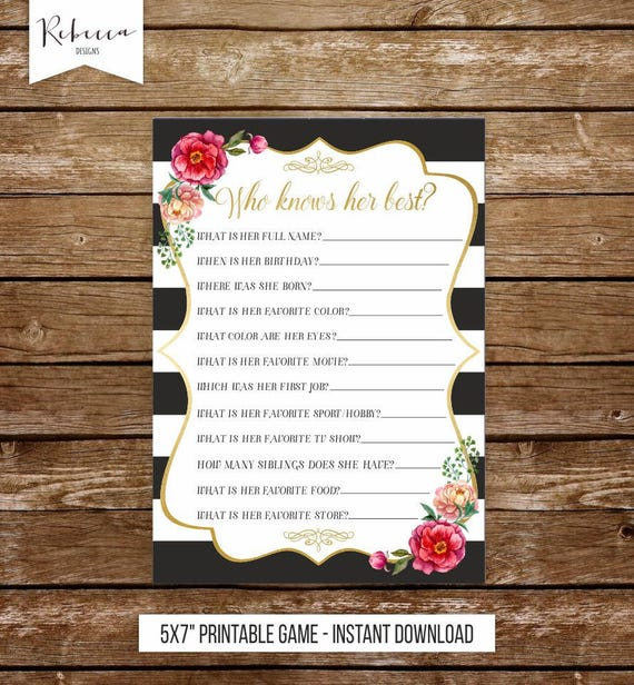 Who Knows Her Best Printable Birthday Game Bridal Shower