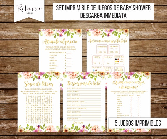 Juegos Baby Shower Set En Espanol Floral Baby Shower Nina Juegos