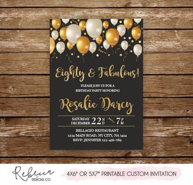 80 And Fabulous Invite Eighty Invitation Birthday Printable Woman