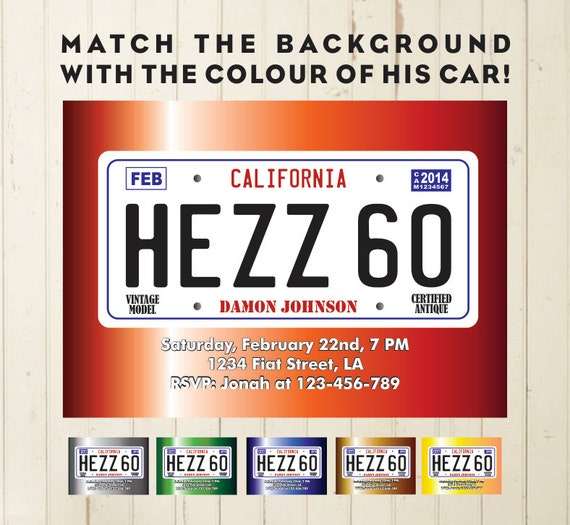 License Plate Invitation Printable License Birthday Invitation Car