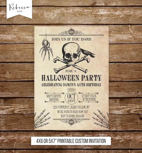 Halloween Birthday Invitation Printable Invite Skull Adult Party Spider Skeletons 133