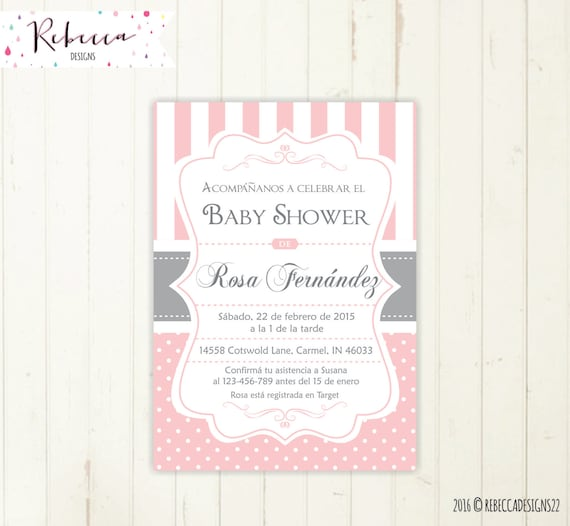 Spanish Baby Shower Invitation Girl Baby Shower In Spanish Etsy