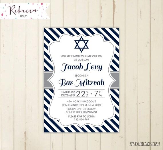 bar mitzvah invitation printable blue bar mitzvah invitation etsy