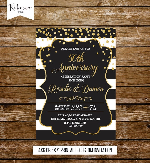 50 Wedding Anniversary Invitation Gold Party 50th