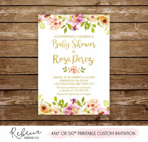 b2a71110d1b95 Invitacion baby shower niña spanish baby shower invitation