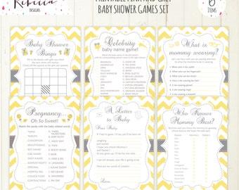 Yellow baby shower games baby shower printable set baby shower games 6 items yellow baby shower bundle madlib game bingo game candy 103