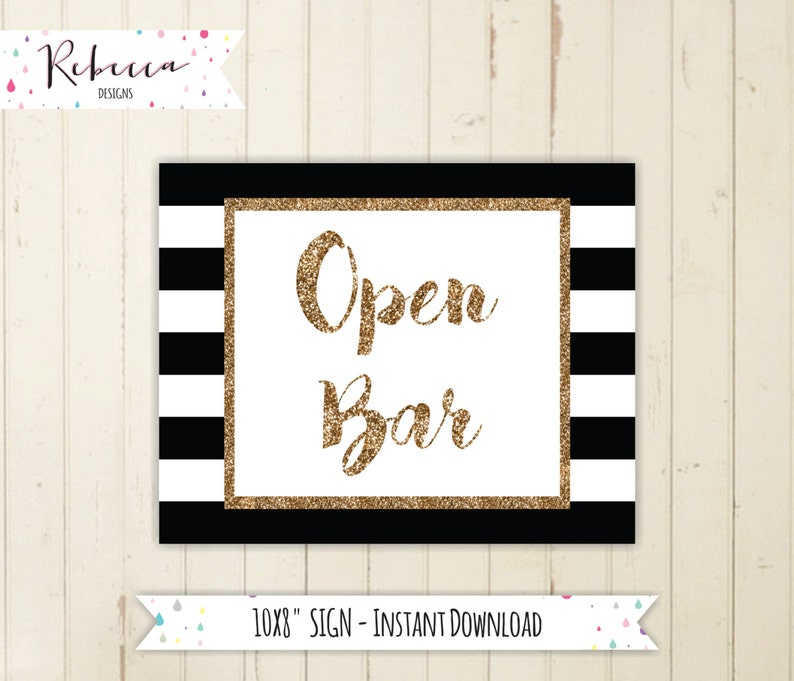 picture regarding Will Return Sign Printable titled Open up bar indicator open up bar printable indication black and gold indicator bridal shower open up bar wedding ceremony bar mimosa bar signal open up bar black and white 128