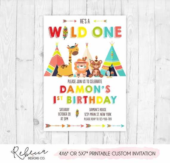 Wild One Birthday Invitation Printable Tribal Boy 1st Boho Invite 296
