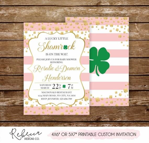 Shamrock Baby Shower Invite St Patricks Baby Shower Invitation St