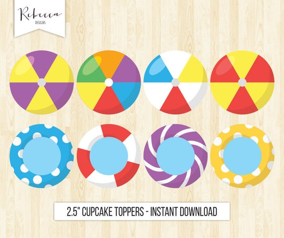 Beach Cupcake Toppers Pool Party Toppers Printable